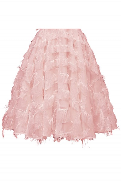 Sexy off-the-shoulder Artifical Feather Princess Vintage Homecoming Dresses | Womens Retro A-line Pink Cocktail Dress_9