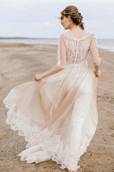 Latest Tulle A-line Sweep Train Wedding Dress_2