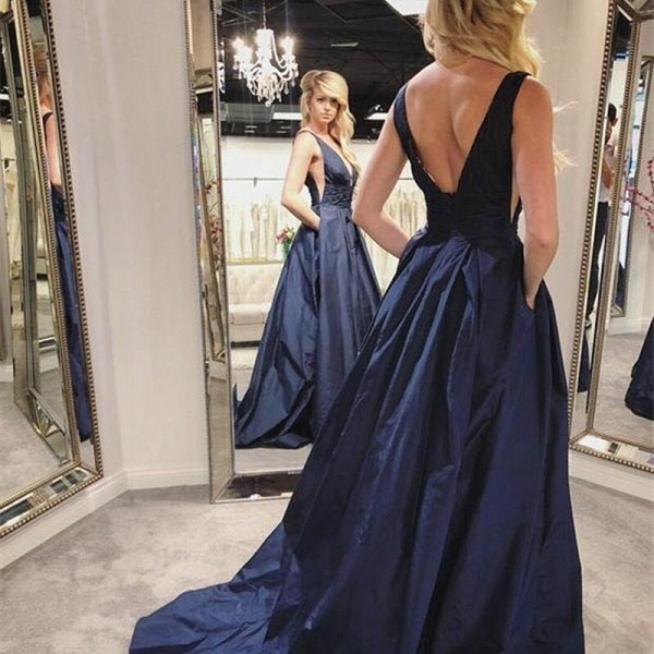 Elegant V-neck Ruffles A-line Prom Dress_2