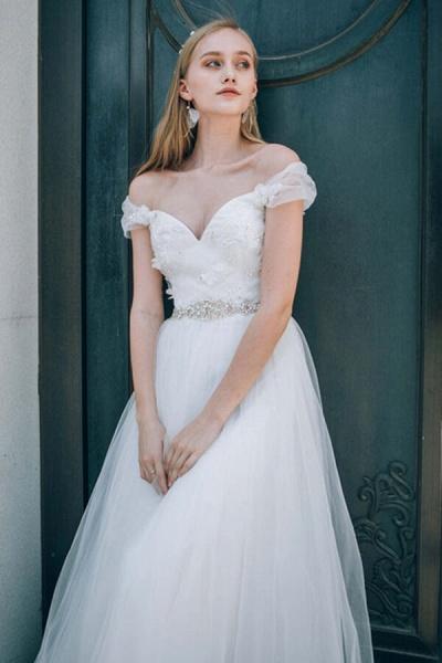 Sweetheart Beading Tulle A-line Wedding Dress_5