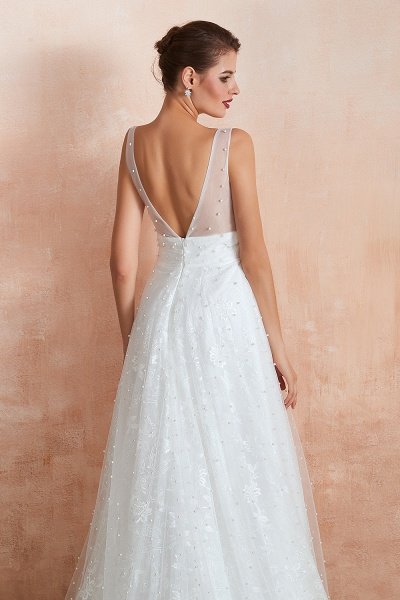 Graceful V-neck Pearl Tulle A-line Wedding Dress_8