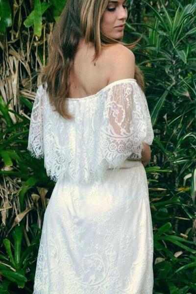 Off-the-shoulder Lace Floor Length Wedding Dress_4