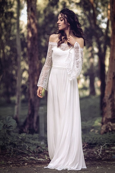 Off-the-shoulder Lace Chiffon A-line Wedding Dress_2