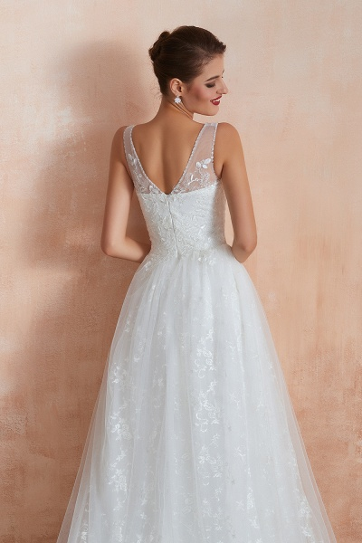 Elegant V-neck Lace Tulle A-line Wedding Dress_10