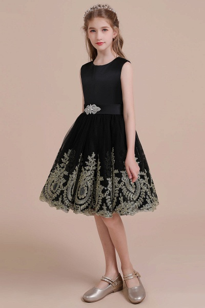 Appliques Satin Tulle A-line Flower Girl Dress_4