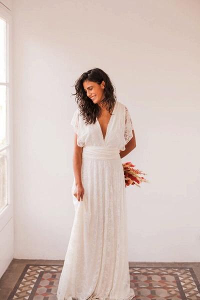 Open Back V-neck Lace Floor Length Wedding Dress_6