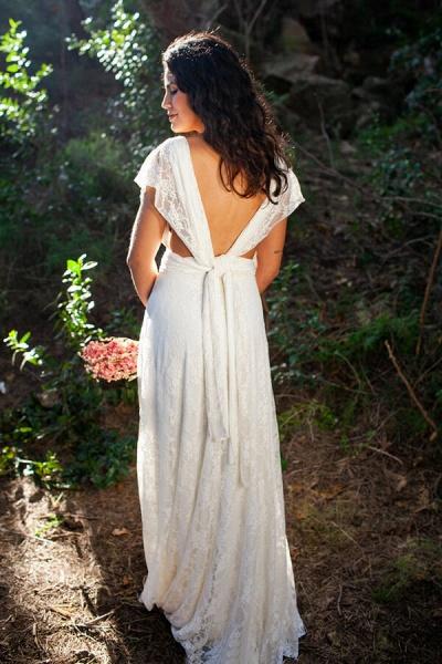 Open Back V-neck Lace Floor Length Wedding Dress_3