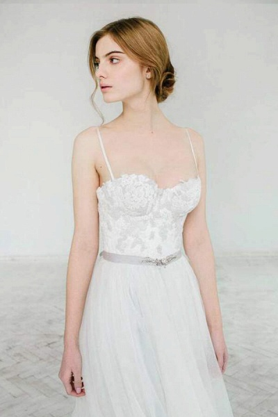 Best Spaghetti Strap Appliques Tulle Wedding Dress_6