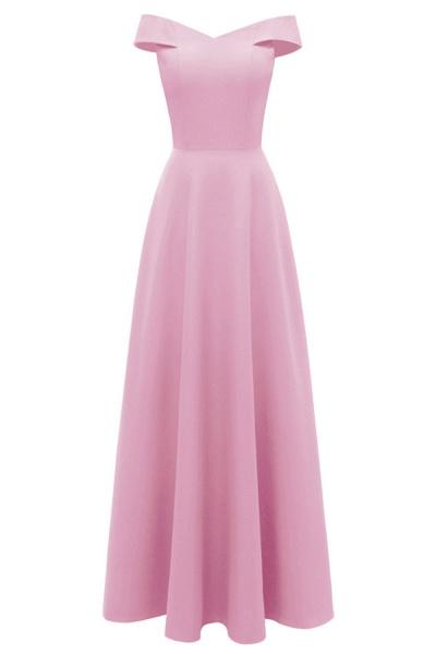 Women Simple Off-the-shoulder Bridesmaid Party Dress Long Burgundy Dress_1