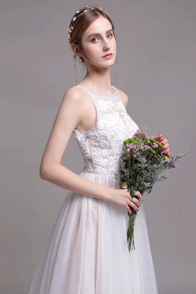 Best Lace Tulle Floor Length A-line Wedding Dress_7