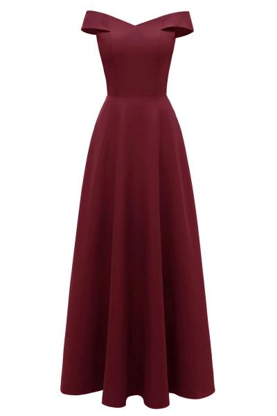 Women Simple Off-the-shoulder Bridesmaid Party Dress Long Burgundy Dress_2