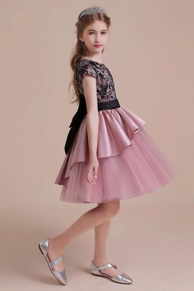 Cap Sleeve Lace Tulle Knee Length Flower Girl Dress_7