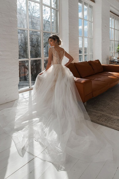 Beading Cathedral Train Tulle A-line Wedding Dress_4
