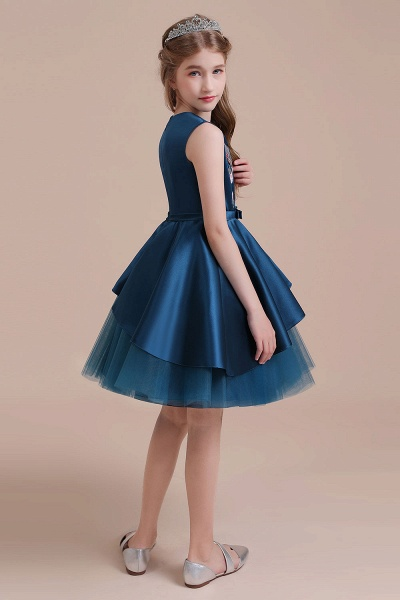 Embroidered Satin Tulle A-line Flower Girl Dress_9