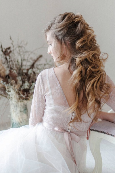 Amazing Sheer Lace Tulle Floor Length Wedding Dress_9