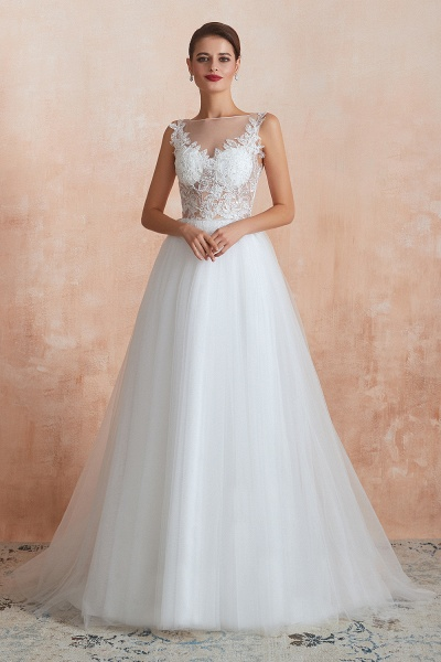 Graceful Sequins Tulle A-line Wedding Dress_5