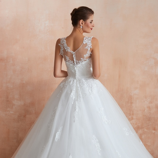 Amazing Illusion Appliques Tulle Wedding Dress_11