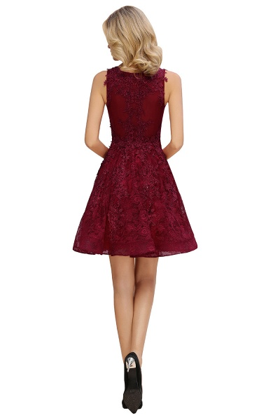 Princess V-neck Knee Length Lace Appliqued Homecoming Dress_11