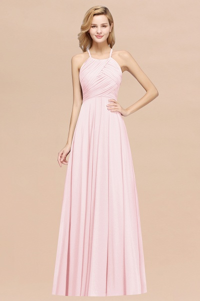 A-Line Chiffon Halter Ruffles Floor-Length Bridesmaid Dress_3