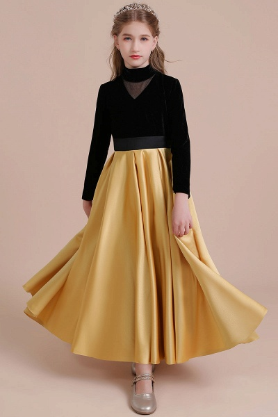 High-neck Velvet Satin A-line Flower Girl Dress_4