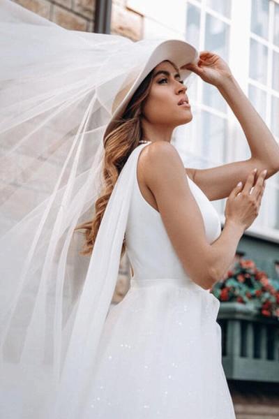 Elegant Sequins Chiffon Tulle A-line Wedding Dress_6