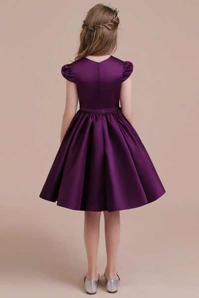 Graceful Cap Sleeve Satin A-line Flower Girl Dress_3