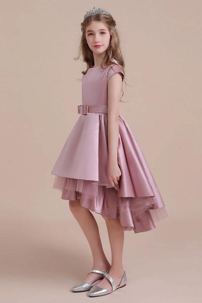 Cap Sleeve A-line Satin High-low Flower Girl Dress_7