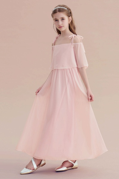 Cold-shoulder A-line Chiffon Flower Girl Dress_7