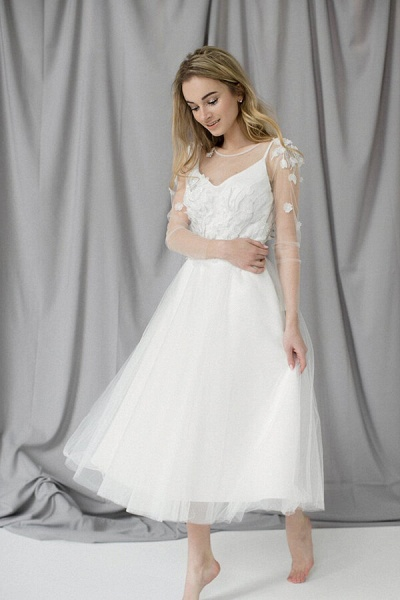 Appliques Long Sleeve Tulle A-line Wedding Dress_2