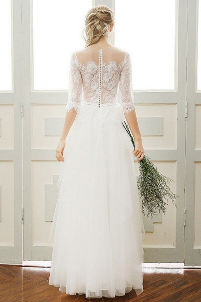 Chic Illusion Lace Tulle A-line Wedding Dress_3