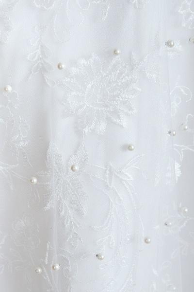 Graceful V-neck Pearl Tulle A-line Wedding Dress_10