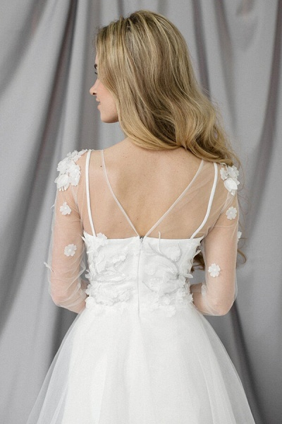 Appliques Long Sleeve Tulle A-line Wedding Dress_5