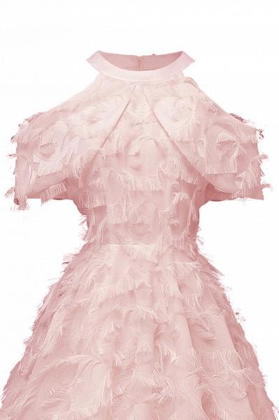 Elegant High neck Artifical Feather A-line Vintage Cocktail Dresses | Retro A-line Burgundy Homecoming Dress_9