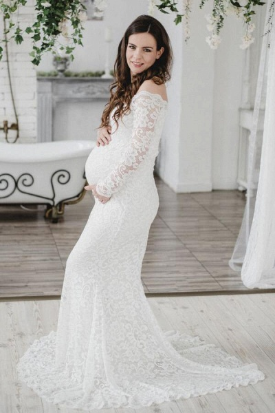 Amazing Off Shoulder Lace Mermaid Wedding Dress_3