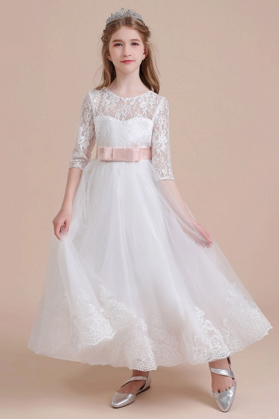 Illusion Lace Tulle Ankle Length Flower Girl Dress_8