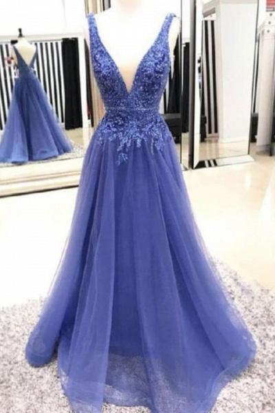Precious V-neck Tulle A-line Prom Dress_1