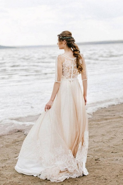 Latest Tulle A-line Sweep Train Wedding Dress_3