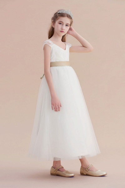Cap Sleeve Sweetheart Tulle Flower Girl Dress_6