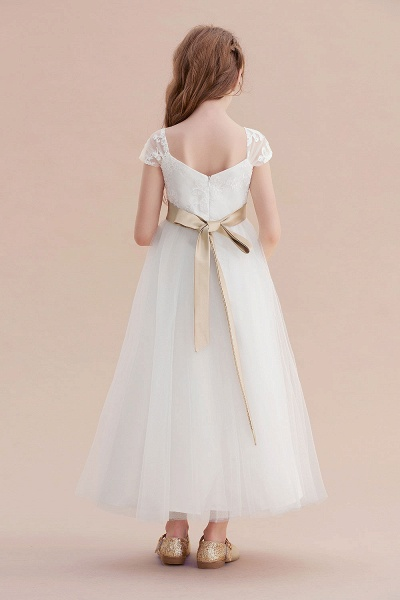 Cap Sleeve Sweetheart Tulle Flower Girl Dress_3