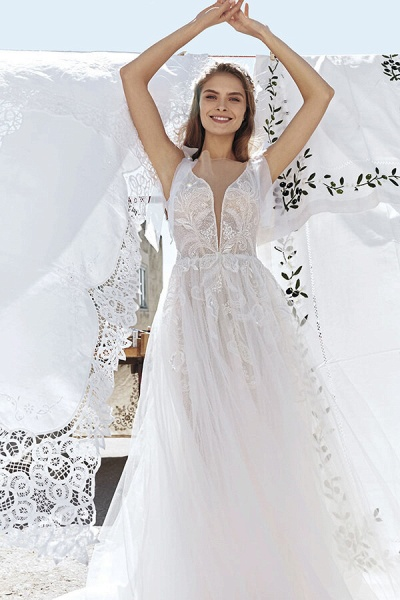 Awesome V-neck Appliques Tulle A-line Wedding Dress_4