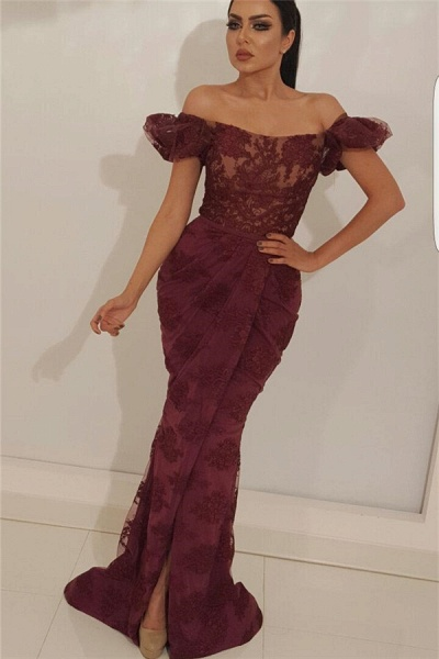 Fascinating Off-the-shoulder Tulle Mermaid Prom Dress_1