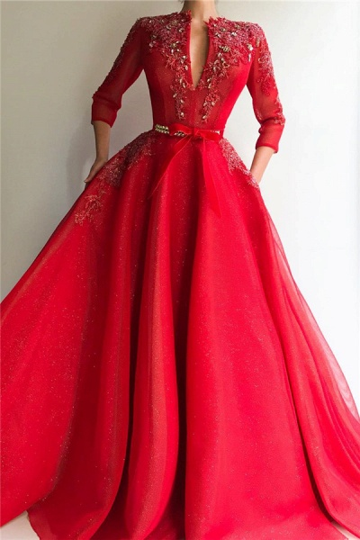 Awesome V-neck Tulle A-line Prom Dress_1