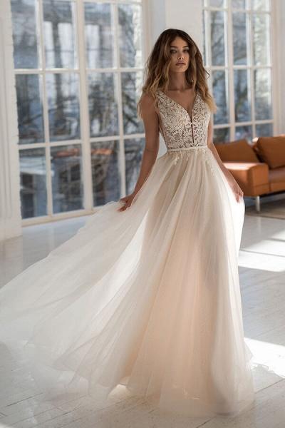 Graceful Applique Tulle A-line Wedding Dress_1