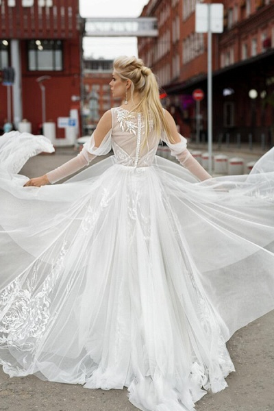 Chic Long Sleeve Cold Shoulder Tulle Wedding Dress_4