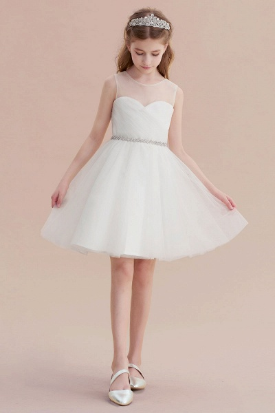 Illusion Knee Length A-line Tulle Flower Girl Dress_4