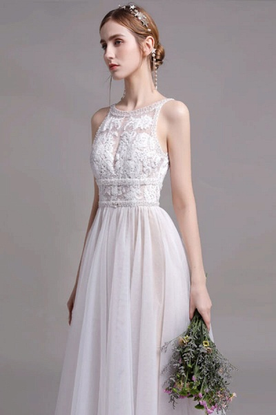 Best Lace Tulle Floor Length A-line Wedding Dress_4