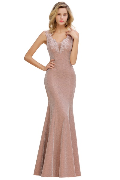 Fascinating V-neck Lace Mermaid Evening Dress_12