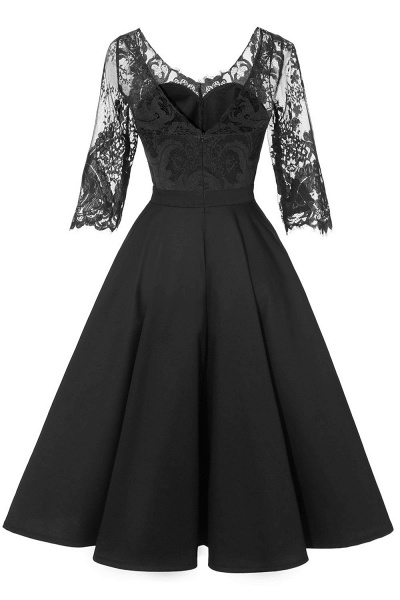 Retro Scoop neck  V-back Lace Dresses with Sleeves | A-line ruffles Burgundy Lace Cocktail Party Dresses_9