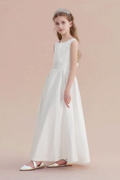 Simple A-line Satin Flower Girl Dress_4