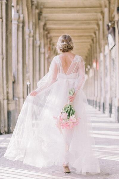 Latest Long Sleeve Tulle Floor Length Wedding Dress_3